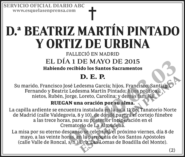 Beatriz Martín Pintado y Ortiz de Urbina